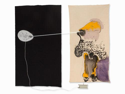Mario Merz 1980 tecnica mista con lampada fluorescente acquerello inchiostro e spray su tessuto 259xx313 cm 1