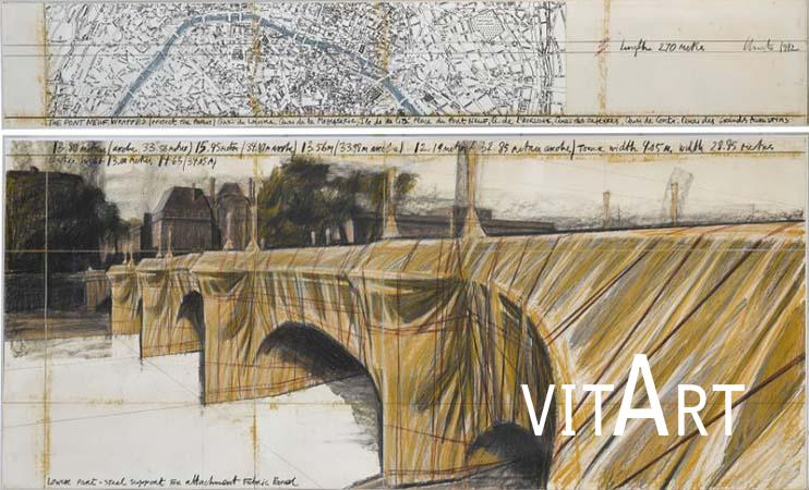 Christo 1982  tecnica mista su cartone in teca di plexiglass 145 x 235 cm 11