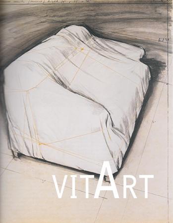 Christo 1973  Collage di carta, stoffa, polietilene, spago, gesso, pastello a cera, grafite e graffette su cartoncino montato su pannello 71.5 x 56 cm 12
