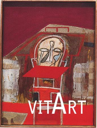 Mimmo Paladino 1996-97 tecnica mista su tavola con cornice in rame cm 41.3 x 31, 1 1