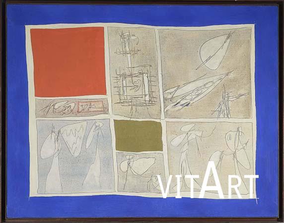 Achille Perilli 1961  Tecnica mista su tela 111 x 143 cm 2